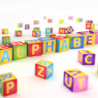 Alphabet spelled by abc cubes — Foto Stock #24909117