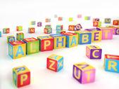 Alfabetet stavat av abc kuber — Stockfoto