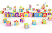 Education spelled by abc cubes — 图库照片