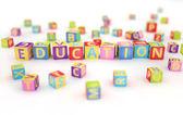 Edukacji napisane przez abc cubes — Zdjęcie stockowe