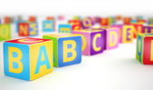 A,B,C cubes in row — Foto Stock