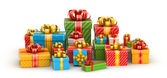 Colored gift boxes in line — Stock Photo
