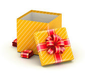 Open gold gift box — Stock Photo