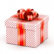 White red doted gift box — Stock Photo