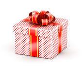 Biały czerwony zapałała miłością ku pudełko — Zdjęcie stockowe