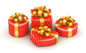 Red different shape gift boxes — Stock Photo