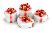 Different shape gift boxes — Stock Photo