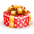 Red doted  gift box — Stock Photo
