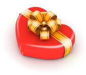 Red gift box with gold — Stock Photo