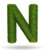 Natural grass letter N — Stock Photo