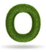 Naturligt gräs bokstaven o — Stockfoto