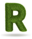 Naturligt gräs bokstaven r — Stockfoto