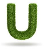 Naturligt gräs bokstaven u — Stockfoto