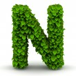 Stock Photo: Leaves font letter N