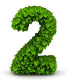 Number 2, green leaves font — Stock Photo