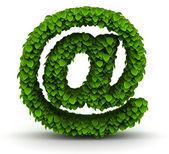アット マーク、緑の葉のフォント — ストック写真