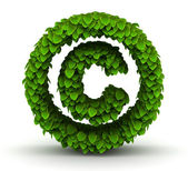 Copyright sign green leaves font — Stock Photo