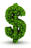 Dollar sign, green leaves font — Stock Photo