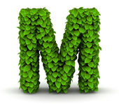Leaves font letter M — Stock Photo