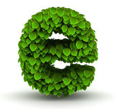 Leaves font letter e lowercase — Stock Photo