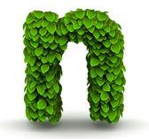 Leaves font letter n lowercase — Stock Photo