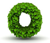 Leaves font letter o lowercase — Stock Photo