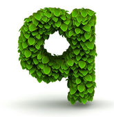 Leaves font letter q lowercase — Stock Photo