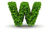 Leaves font letter w lowercase — Stock Photo