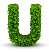 Leaves font letter U — Stock Photo
