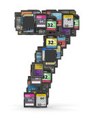 Font from memory cards, number 7 — Stock Photo