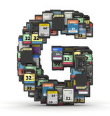 Font from memory cards, letter G — Stock Photo