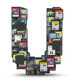 Font from memory cards, letter U — Stock Photo