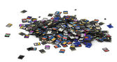Heap of SD and microSD memory cards — Stock Photo