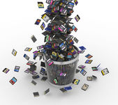 SD and microSD memory cards flow on trashcan — Stock Photo