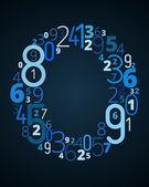 Bokstaven o, vektor teckensnitt från nummer — Stockvektor