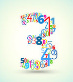 Number 3, colored vector font from numbers — Stock Vector