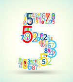 Number 5, colored vector font from numbers — ストックベクタ
