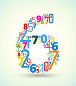Number 6, colored vector font from numbers — Stock vektor