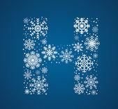 H harfi, vektör yazı tipi soğuk kar taneleri — Stok Vektör