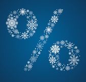 Percent sign vector font frosty snowflakes — Stock Vector