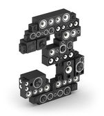 Number 3 from speaker in isometry — Stock Photo