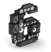 Number 6 from speaker in isometry — Stock Photo