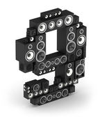 Number 9 from speaker in isometry — Stockfoto