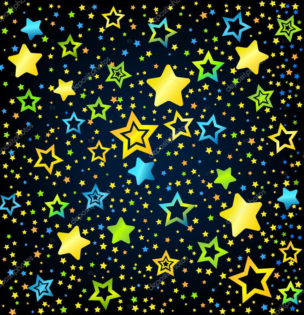 Estrellas de dibujos animados coloreada fondo vector de for Imagenes fondos animados