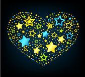 Estrellas de dibujos animados corazón de color — Vector de stock