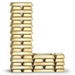 Letter L from gold bars — Stock Photo #38006731