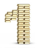 Number 1 from gold bars — Stock Photo