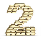 Number 2 from gold bars — Foto Stock