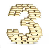 Number 3 from gold bars — Stock Photo