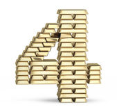 Number 4 from gold bars — Foto Stock